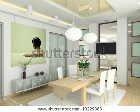modern interior in big house. Design of living-room. 3D render. - stock photo