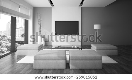 Modern interior in minimalism style black and white color 3D rendering - stock photo