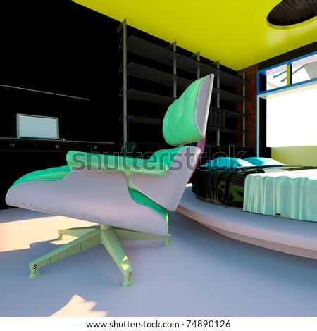Modern interior - living room - stock photo