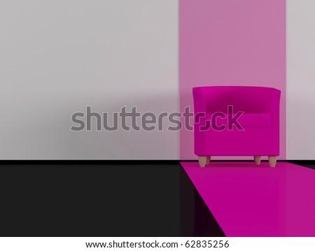 Modern interior, modern pink armchair indoor, black glossy floor, living room, 3d render/illustration - stock photo