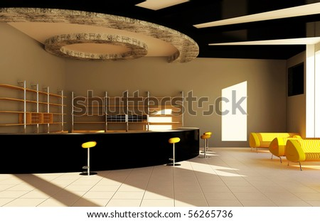 Modern interior of a bar - stock photo