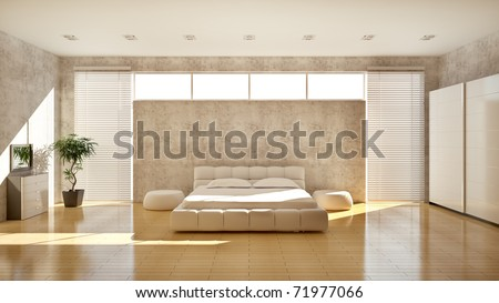 Modern interior of a bedroom - stock photo