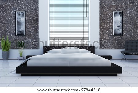 Modern interior of a sleeping room - stock photo