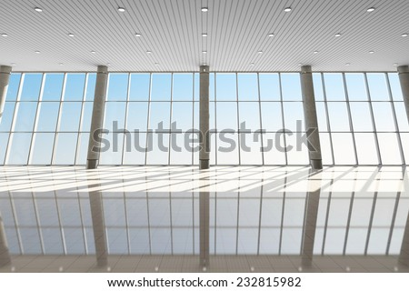 Modern Interior of an Airport Terminal Waiting Area. Empty Hall Interior with Large Windows - stock photo