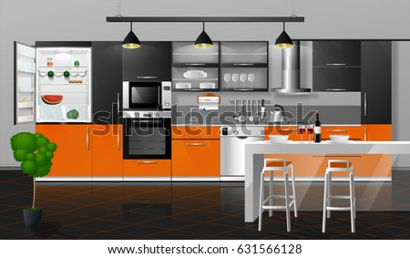 Modern Interior Of An Orange Gray Kitchen With Black Floor Tiles.  Illustration. Household Kitchen