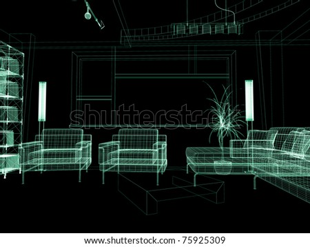 modern interior of  drawing room 3d rendering