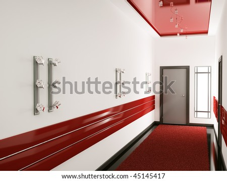 Modern interior of entrance hall 3d render - stock photo