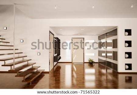 Modern interior of hall with staircase 3d render - stock photo