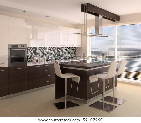 Modern interior of kitchen. 3d render. Not a photo! - stock photo