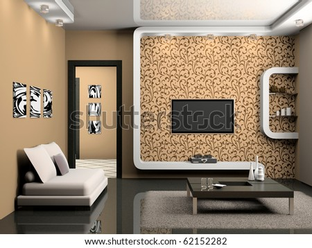 modern interior of living room 3D - stock photo