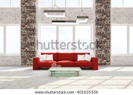 Modern Interior Of Living Room With Brick Columns Concrete Floor Red Sofa  Against Of Window 3d Part 79