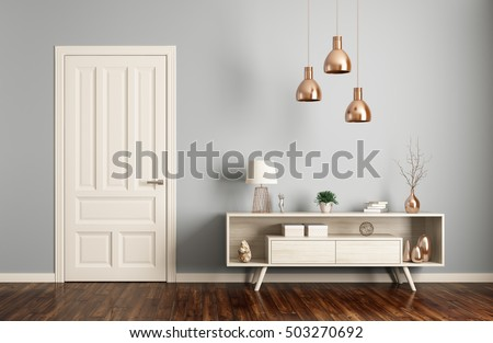 Modern interior of living room with door and sideboard 3d rendering