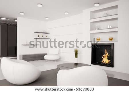 Modern interior of living room with fireplace 3d render - stock photo