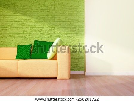 Modern interior of living room with orange sofa. 3D rendering - stock photo