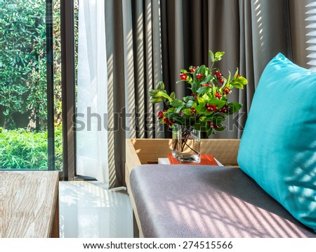Modern interior of Living room with part of sofa in sunny day - stock photo