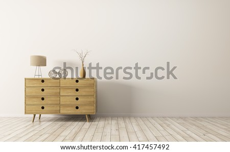 Modern interior of living room with wooden cabinet 3d rendering - stock photo