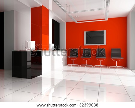 Modern interior of office 3 d render - stock photo