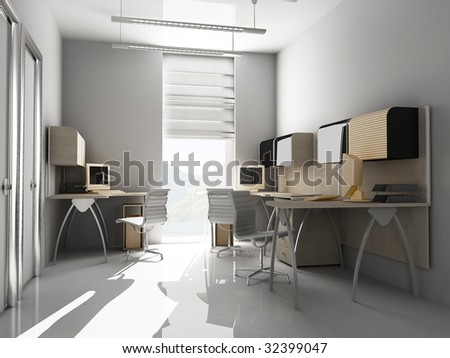 Modern interior of office 3 d render