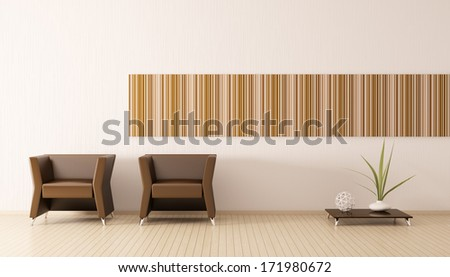 Modern interior of room with brown armchairs 3d render - stock photo