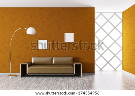 Modern interior of room with brown sofa 3d render - stock photo