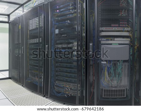 Modern interior of server room, Super Computer, Data center