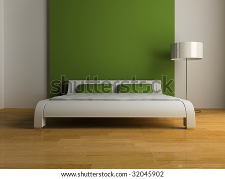 modern interior of the bedroom 3D - stock photo