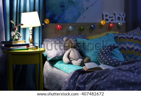 Modern interior of the child's bedroom - stock photo