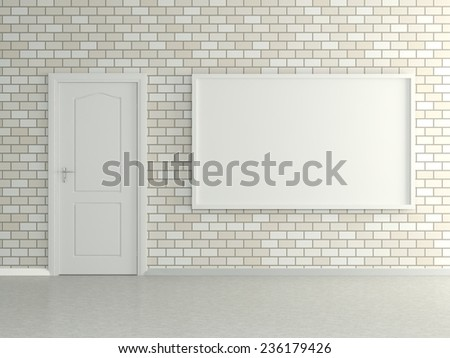 Modern interior of the house with the picture in the frame, door and white brick wall. 3D - stock photo