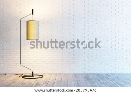 modern interior of the room with floor lamp  - stock photo