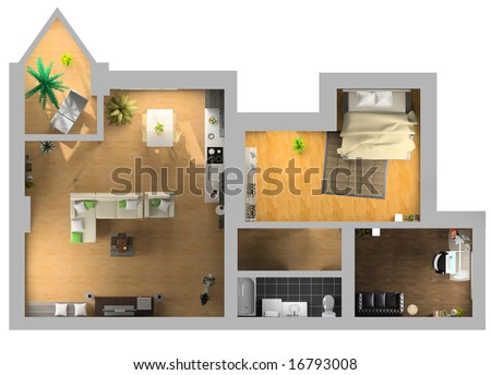 modern interior on the top view (private apartment 3d rendering) - stock photo
