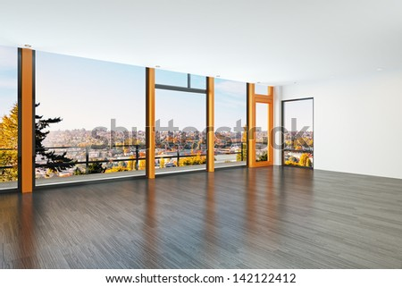 Modern interior overlooking a city - stock photo