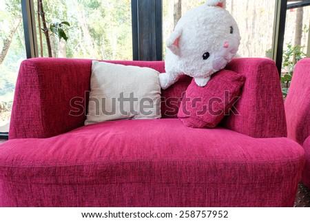 Modern interior pink sofa and  pillow - stock photo