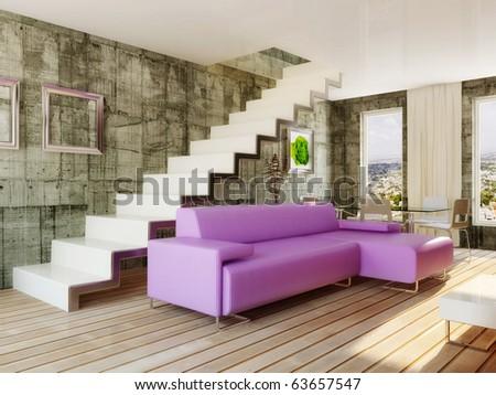 Modern Interior Room In Violet Color