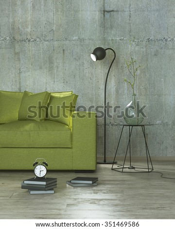 modern interior room with books, clock, lamp and yellow sofa, 3D render - stock photo