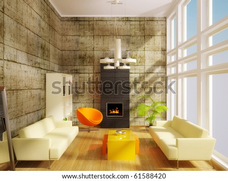 modern interior room with white sofa - stock photo