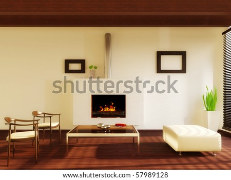 modern interior room with white wall and fireplace - stock photo