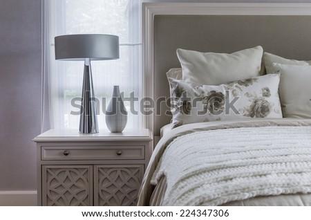 modern interior white bedroom - stock photo