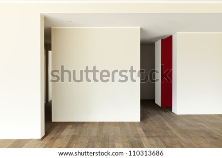 modern interior, wide empty apartment, wall white - stock photo