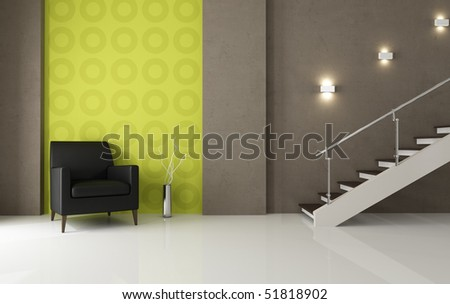 modern interior with black leather armchair and staircase - rendering - stock photo