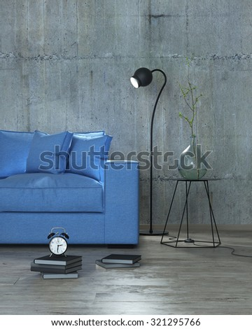 modern interior with blue sofa and floor lamp background, 3D render - stock photo