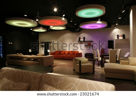 modern interior with colorful ceiling lights