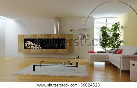 modern interior with fireplace (3d render) - stock photo