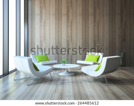 Modern interior with four armchairs and coffee table 3d rendering - stock photo