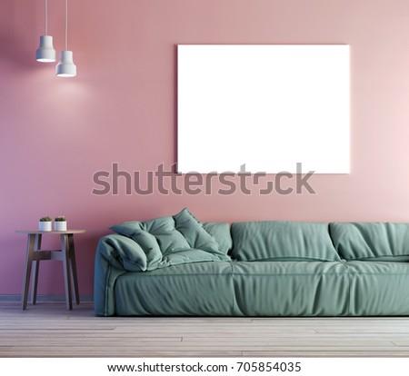 Modern Interior Mockup Poster On Wall Stock Illustration 705854035 ...