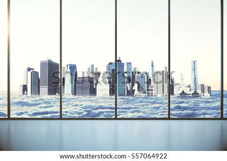 Modern interior with panoramic windows with city in clouds view. 3D Rendering