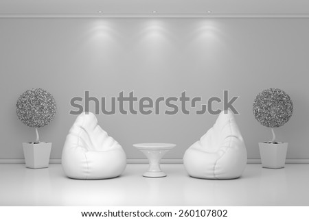 Modern interior with stylish and cozy armchairs. - stock photo