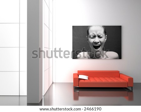 Modern interior with the fashionable picture. - stock photo