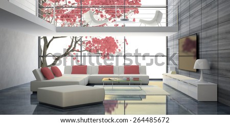 Modern interior with white sofas and pink pillows 3D - stock photo