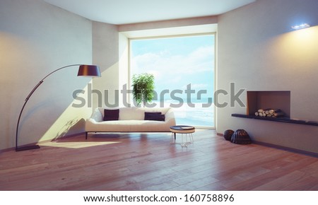 modern interior with window views of the ocean - stock photo