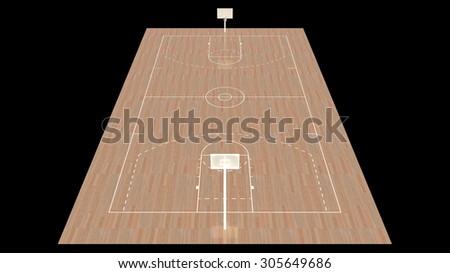 Modern International Basketball Court Design 3D Interior Rendering - stock photo